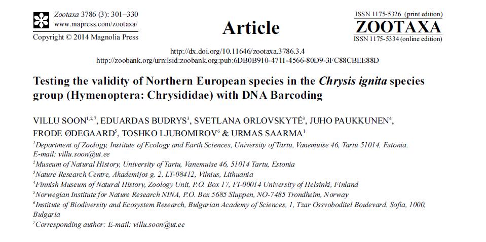 Chrysis Zootaxa